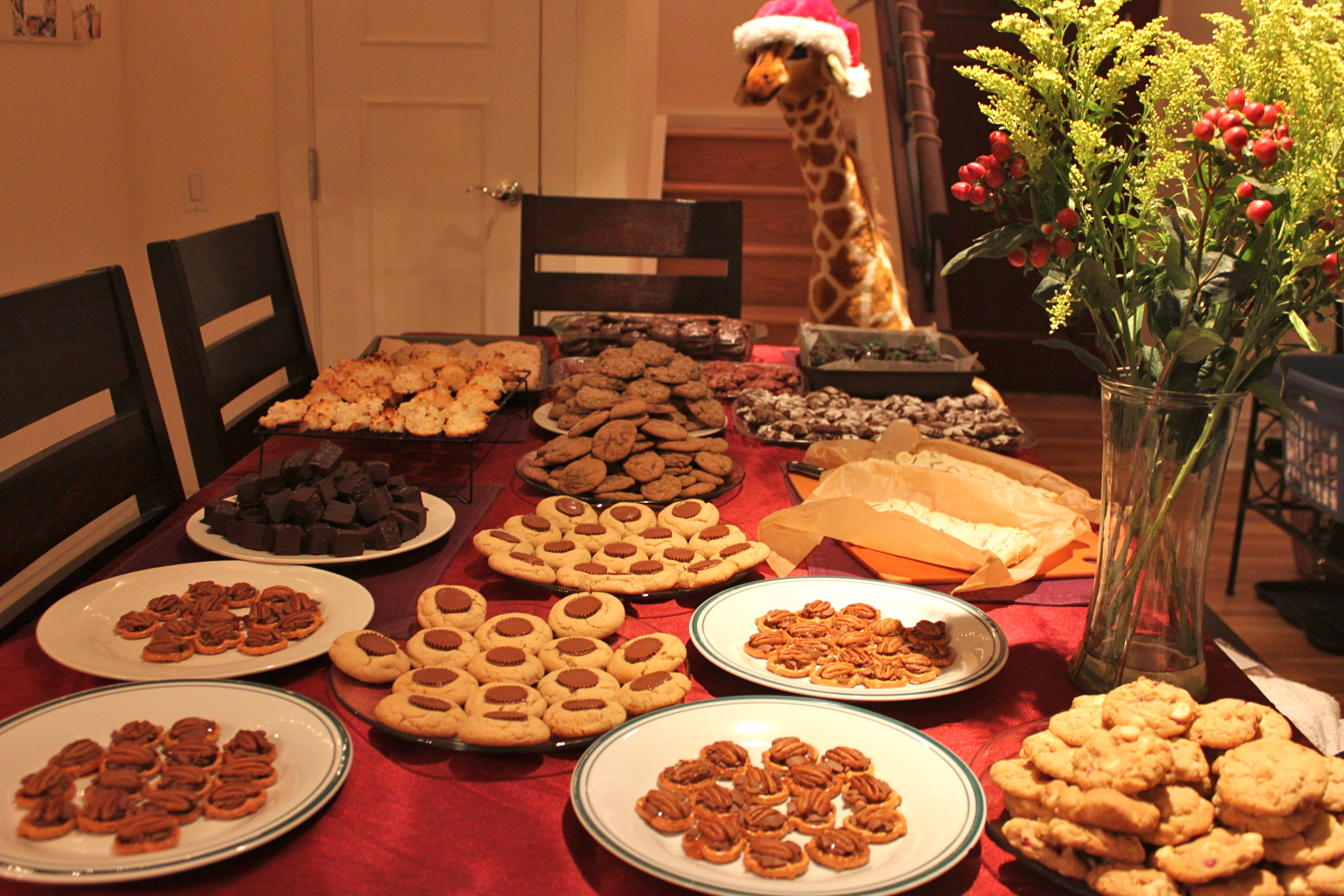 See?  There's our Christmas giraffe (seen here holding court over the results of last weekend's Christmas Cookie Bake-a-Palooza).