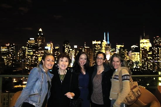 """Everybody say """"famileee!""""  My cousin Dy, grandma Tutu, me, Sister S, and aunt Alane at the Press Lounge on my 30th."""