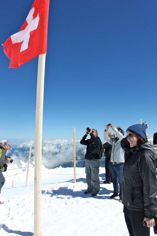 Saluting the Swiss at the top of Jungfrau, the highest train station in the world.