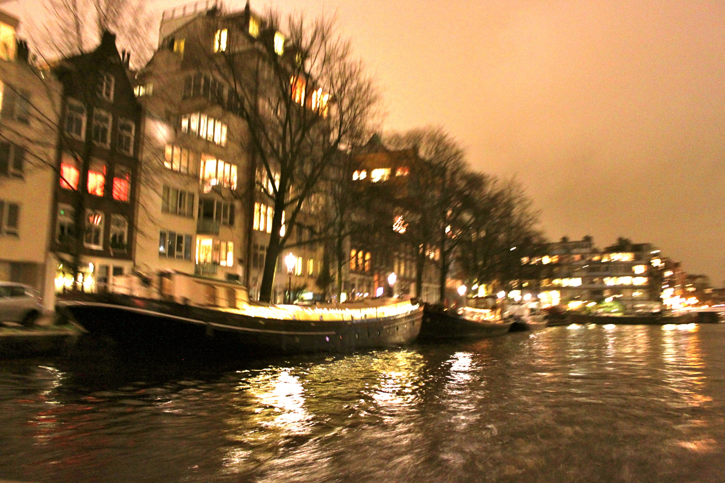 Mr. M & I hopped on a boat cruising the canals for a view of the city at night.