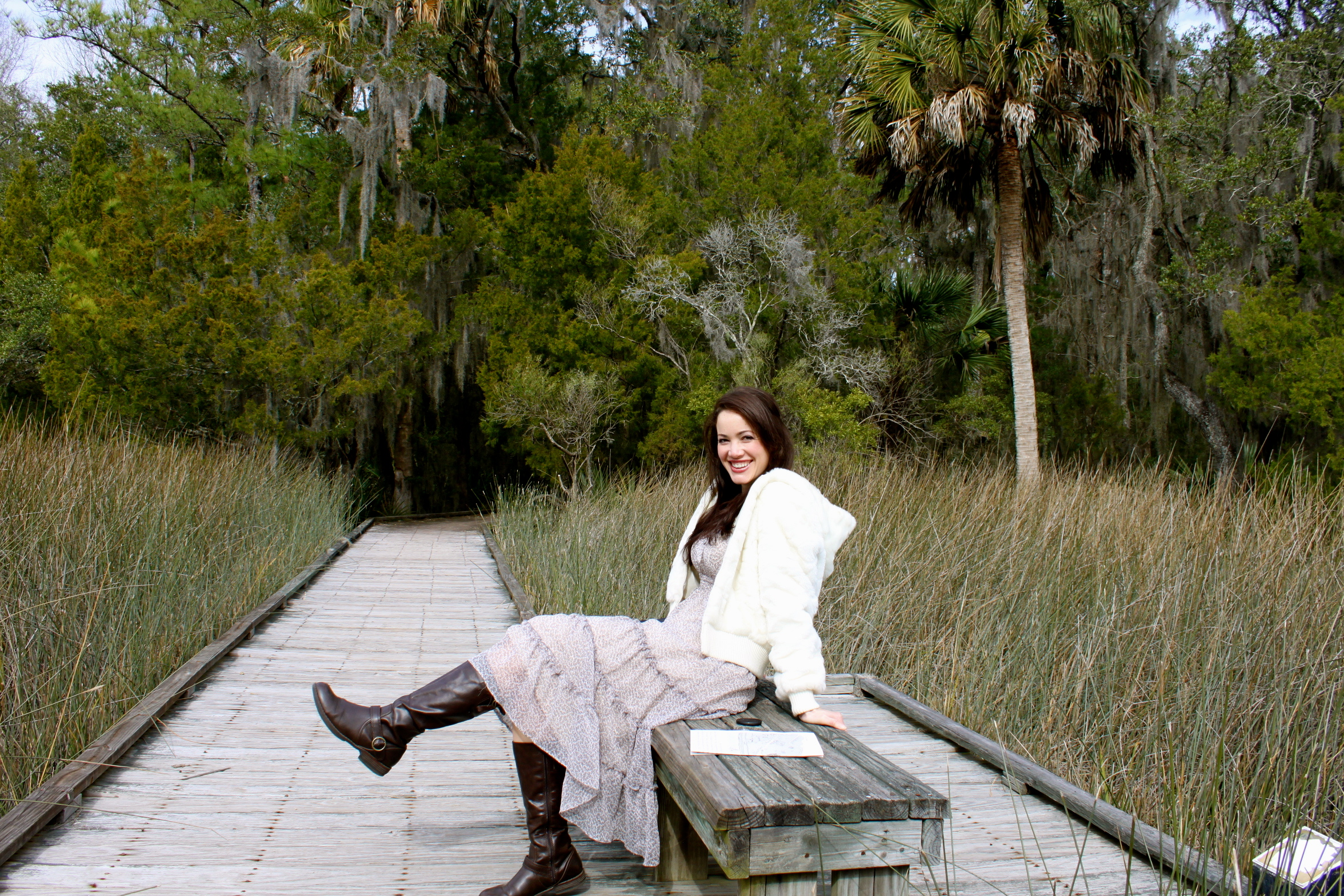 The swampy boardwalk had little benches for sitting, lazing, or kicking up your boot heels.