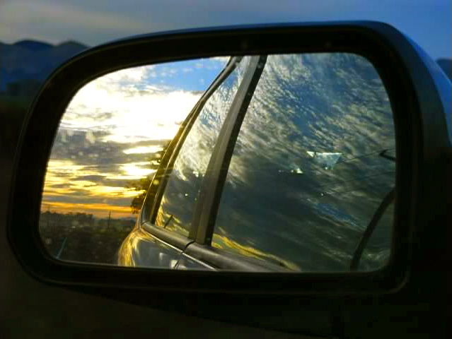 The New Zealand sunrise in our sideview mirror.