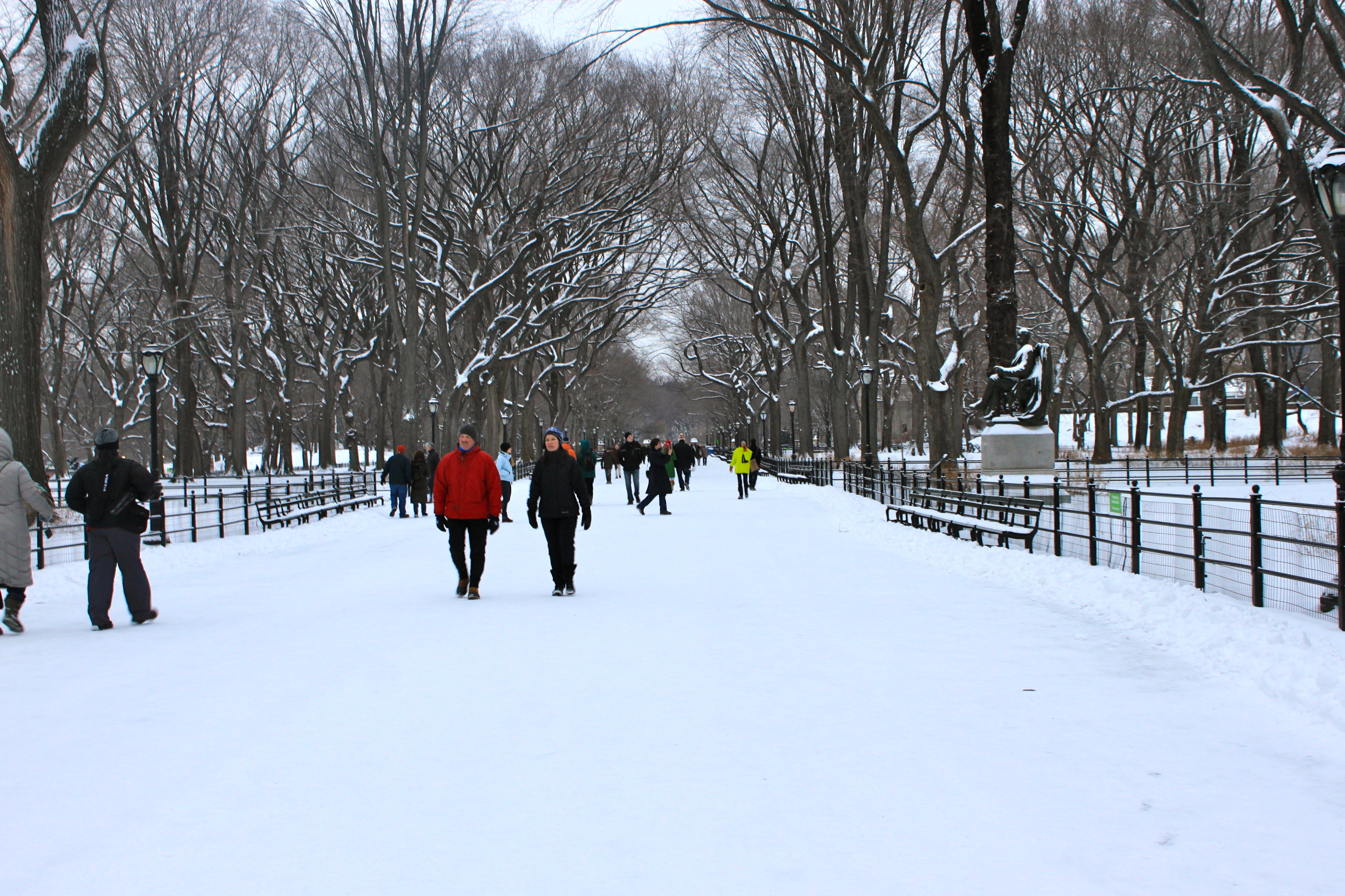 central park nyc snow literary walk