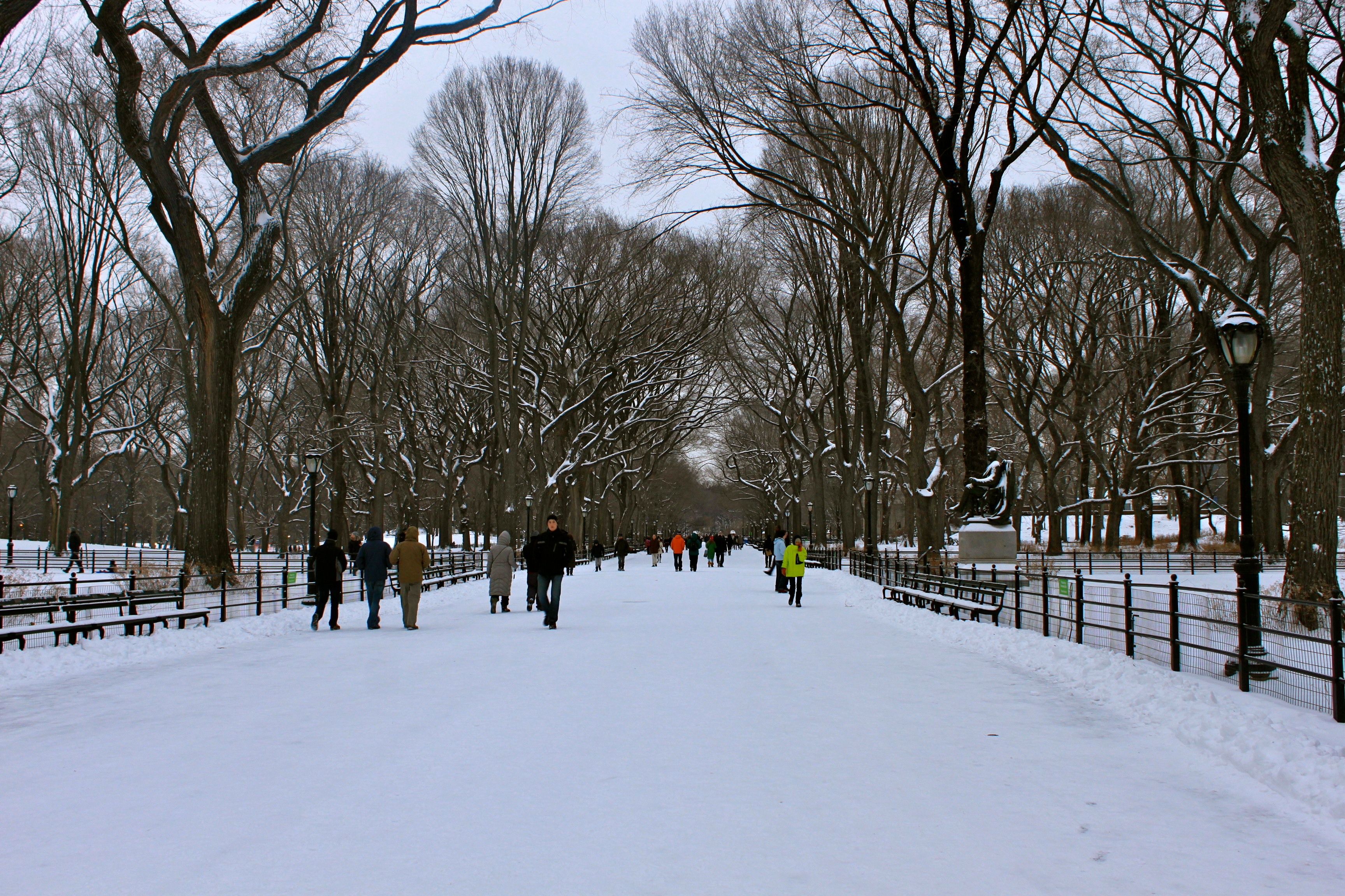 central park snow nyc literary walk