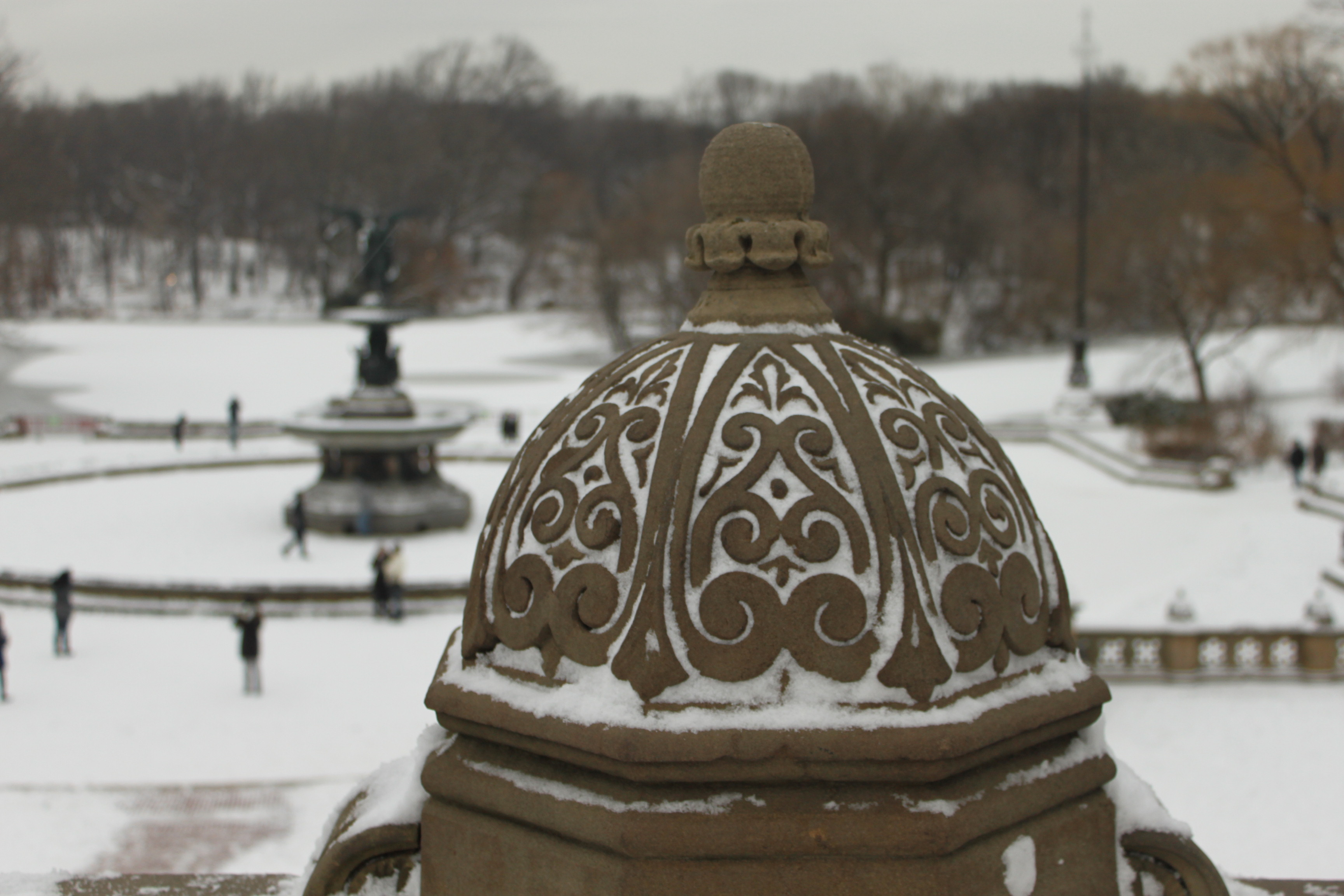central park nyc bethesda fountain snow