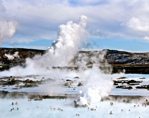 The well-known Blue Lagoon hot springs.