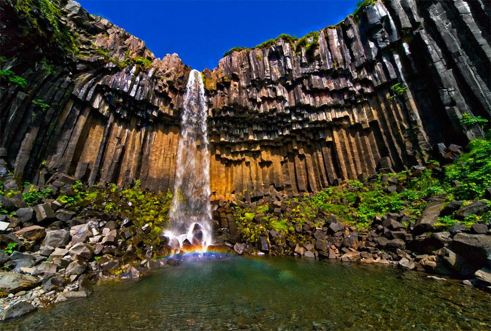 The Svartifoss waterfall in Skaftafell National Park.