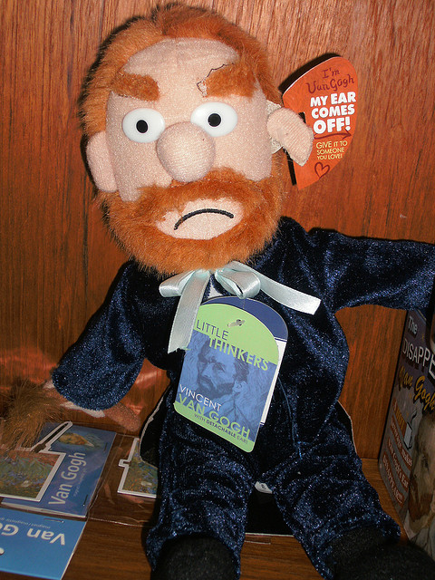 Plush Van Gogh comes grumpy and de-eared.