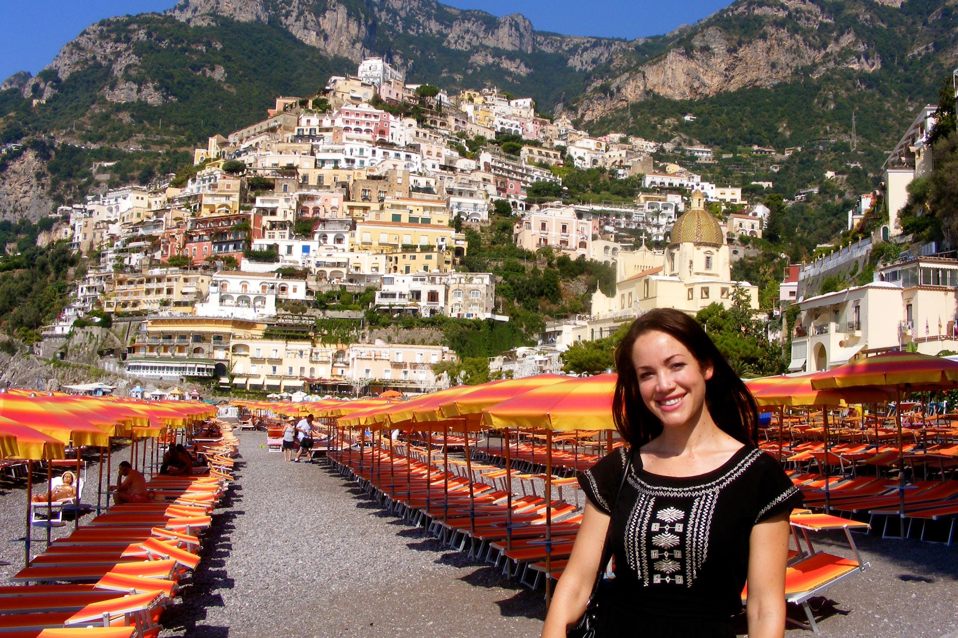 positano amalfi coast italy beach umbrellas