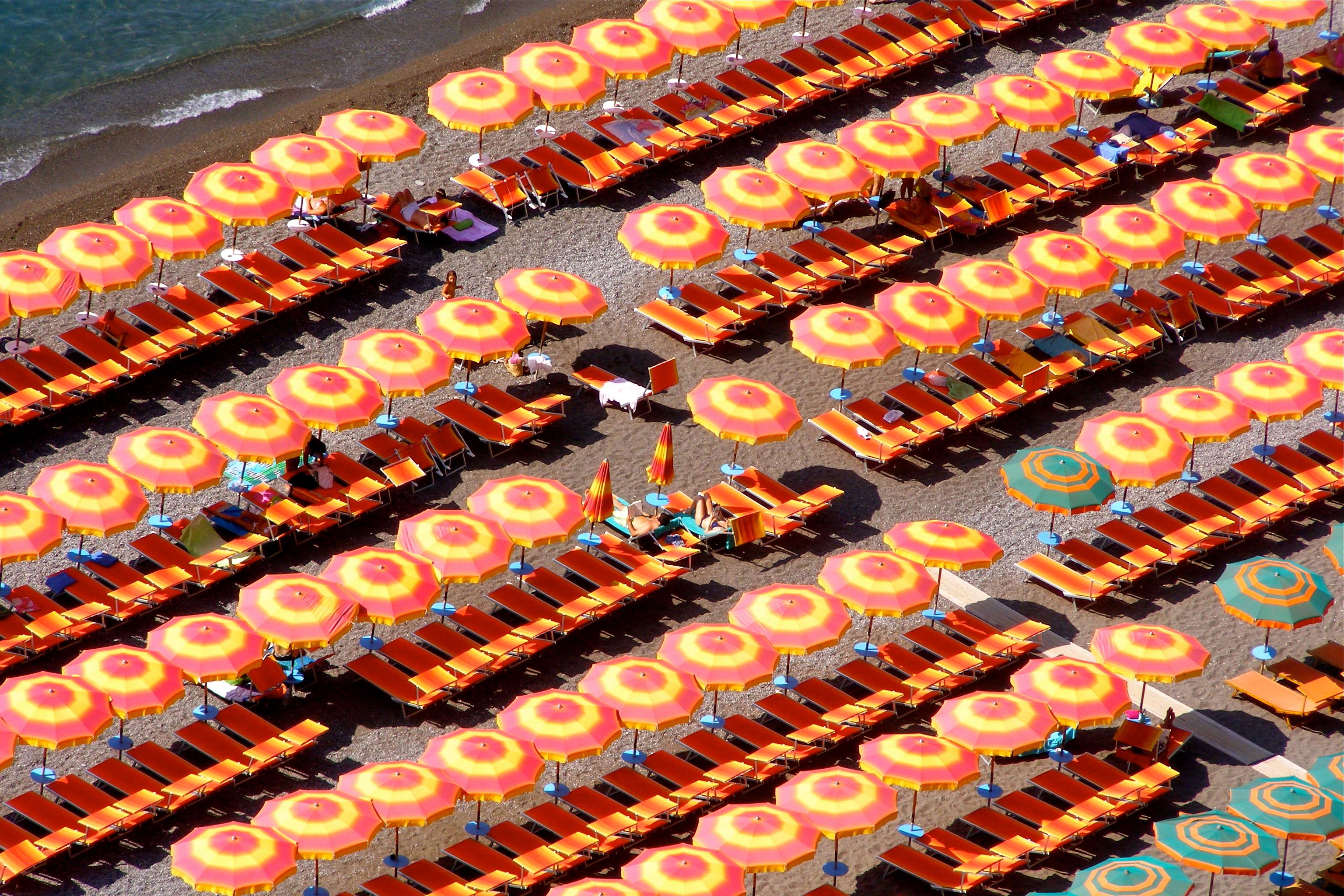 positano italy beach umbrella amalfi coast